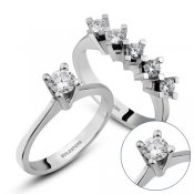 �kisi Bir Arada P�rlanta Set, 0.50 ct Be�ta� ve 0.25 ct Tekta� Y�z�k