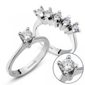 �kisi Bir Arada P�rlanta Set, 0.70 ct Be�ta� ve 0.30 ct Tekta� Y�z�k