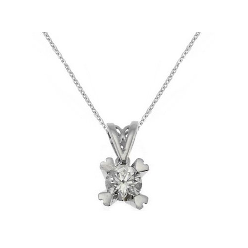 0.3ct. Diamond 18K Solid Gold Solitaire Heart Classic Necklace