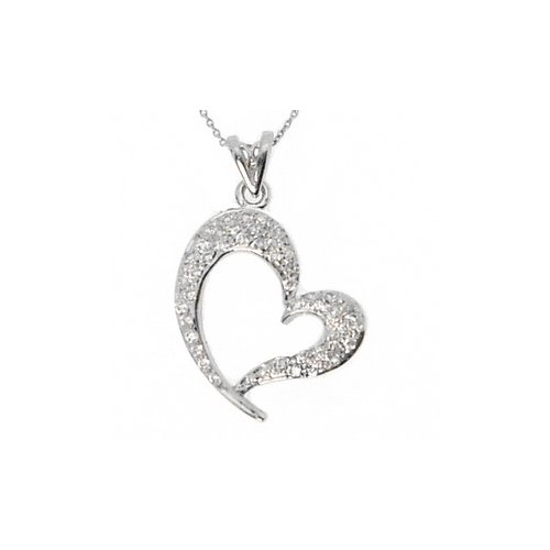 0.3ct. Diamond 18K Solid Gold Heart Necklace