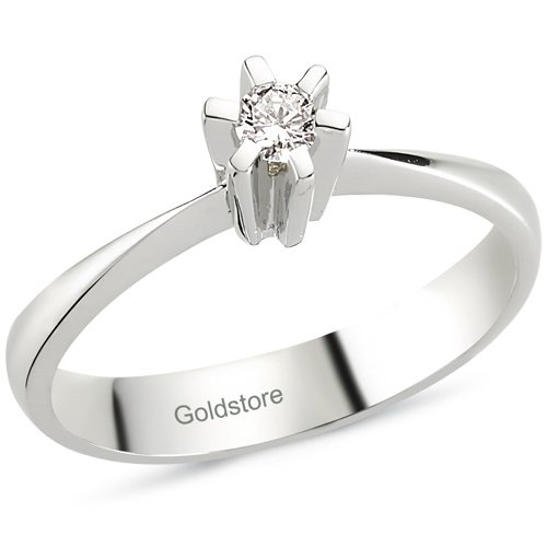 0.08ct. Diamond 18K Solid Gold Solitaire Classic Ring
