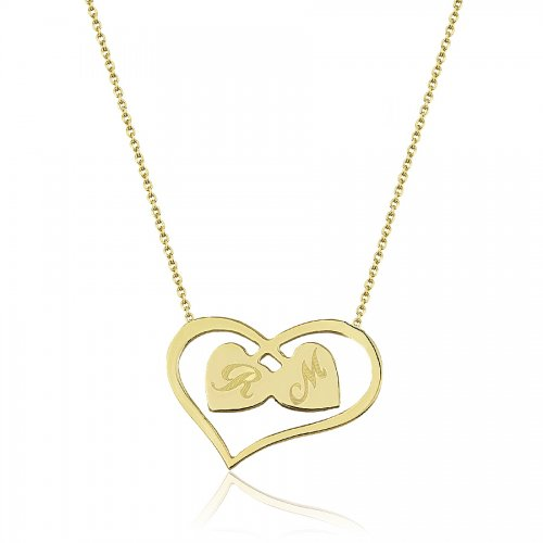 14K Solid Gold Initial Heart Necklace