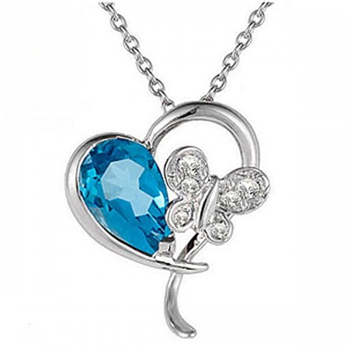 0.03ct. Diamond 925K Silver Heart Butterfly Blue Topaz Necklace