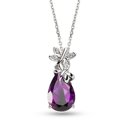 0.02ct. Diamond 925K Silver Butterfly Amethyst Necklace