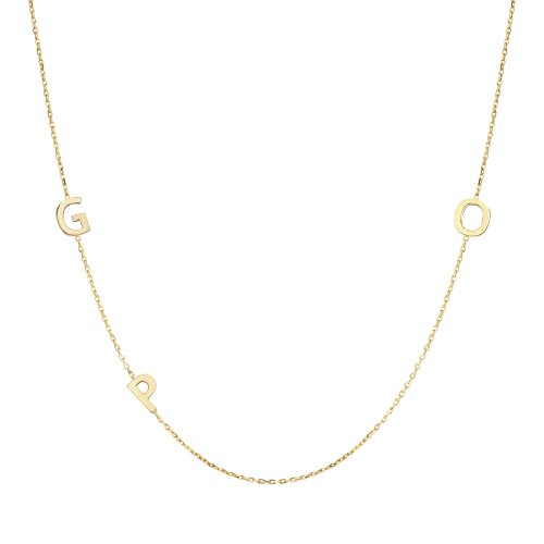 14k Solid Gold Sideways Initial Gold Necklace