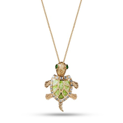 14K Solid Gold Modern Design Turtle Cubic Zirconia Necklace