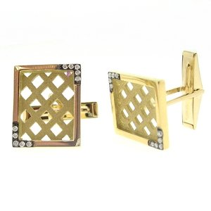0.13ct. Diamond 18K Solid Gold Cufflink