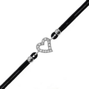 0.06ct. Diamond 18K Solid Gold Heart Bracelet