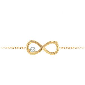 0.01ct. Diamond 14K Solid Gold Infinity Bracelet