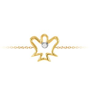 0.01ct. Diamond 14K Solid Gold Angel Bracelet