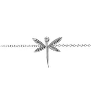 0.01ct. Diamond 14K Solid Gold Dragonfly Bracelet
