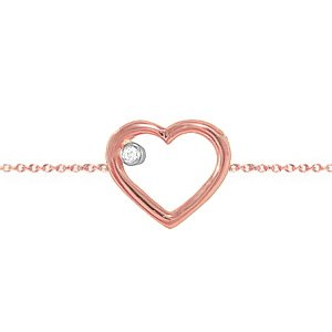 0.01ct. Diamond 14K Solid Gold Heart Bracelet