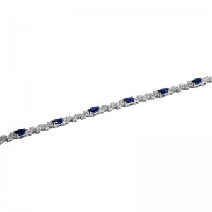 1.53ct. Diamond 2.86ct. Sapphire 18K Solid Gold Modern Design Bracelet