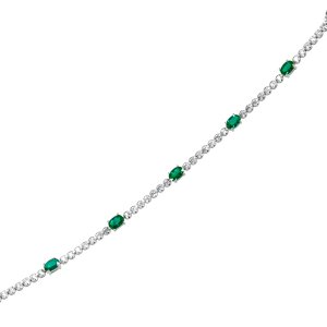 1.22ct. Diamond 1.92ct. Emerald 18K Solid Gold Tennis Modern Design Bracelet
