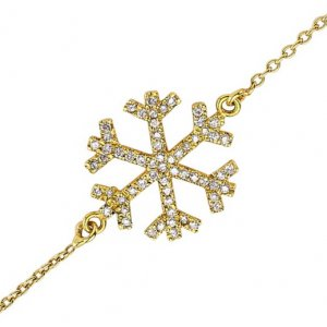 0.18ct. Diamond 18K Solid Gold Modern Design Snow Flake Bracelet