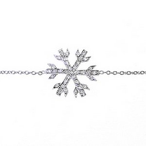 0.18ct. Diamond 18K Solid Gold Snow Flake Bracelet