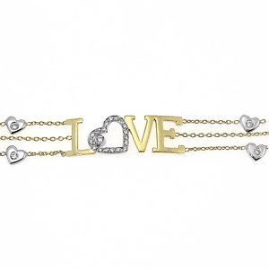 0.44ct. Diamond 18K Solid Gold Heart Bracelet