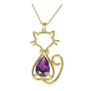 14K Solid Gold Modern Design Cat Amethyst Necklace