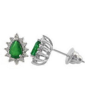 0.24ct. Diamond 0.70ct. Emerald 18K Solid Gold Halo Earring