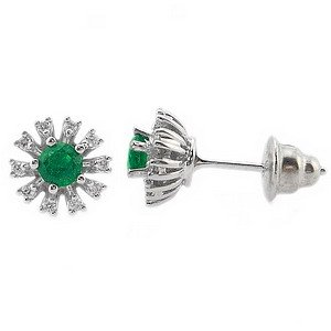 0.16ct. Diamond 0.50ct. Emerald 18K Solid Gold Earring
