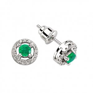 0.15ct. Diamond 0.28ct. Emerald 18K Solid Gold Earring