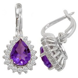 0.53ct. Diamond 18K Solid Gold Halo Amethyst Earring