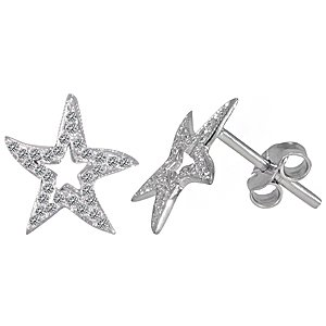 0.18ct. Diamond 18K Solid Gold Modern Design Starfish Star Earring