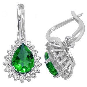 0.56ct. Diamond 2.15ct. Emerald 18K Solid Gold Halo Earring