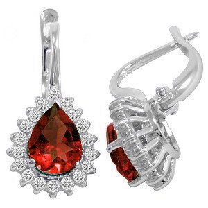0.56ct. Diamond 2.15ct. Ruby 18K Solid Gold Halo Earring