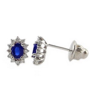0.16ct. Diamond 0.45ct. Sapphire 18K Solid Gold Halo Earring