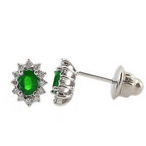 0.14ct. Diamond 0.35ct. Emerald 18K Solid Gold Halo Earring