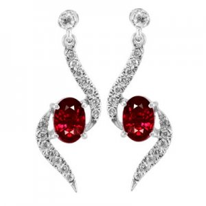 0.27ct. Diamond 1.51ct. Ruby 18K Solid Gold Earring