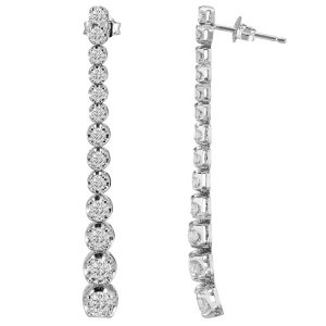 2.29ct. Diamond 18K Solid Gold Tennis Earring