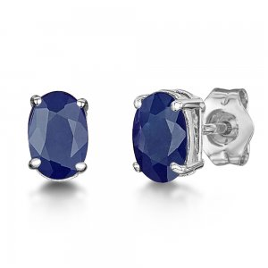 0.50ct. Sapphire 18K Solid Gold Modern Design Earring