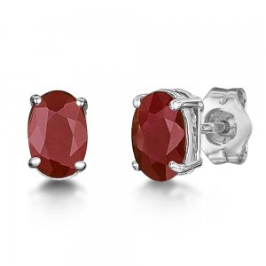0.75ct. Ruby 18K Solid Gold Modern Design Earring