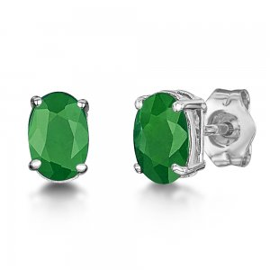 0.55ct. Emerald 18K Solid Gold Modern Design Earring