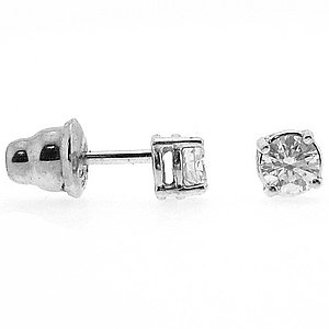 0.37ct. Diamond 18K Solid Gold Solitaire Classic Earring