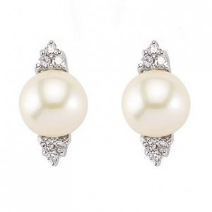 0.2ct. Diamond 18K Solid Gold Modern Design Pearl Earring