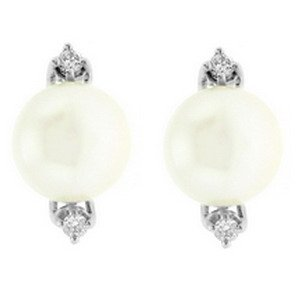 0.1ct. Diamond 18K Solid Gold Modern Design Pearl Earring