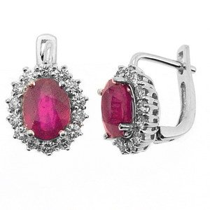 0.86ct. Diamond 4.29ct. Ruby 18K Solid Gold Halo Earring