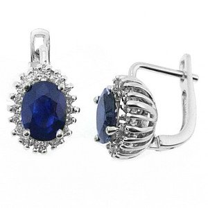0.5ct. Diamond 2.57ct. Sapphire 18K Solid Gold Halo Earring