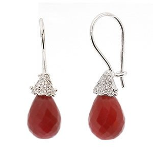 0.11ct. Diamond 10.55ct. Ruby 18K Solid Gold Earring