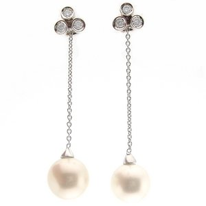0.28ct. Diamond 18K Solid Gold Pearl Earring