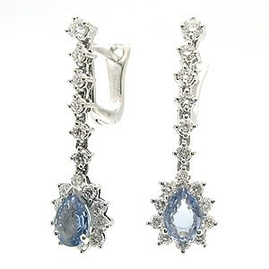 1.06ct. Diamond 1.48ct. Sapphire 18K Solid Gold Halo Earring