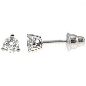0.6ct. Diamond 18K Solid Gold Solitaire Classic Earring