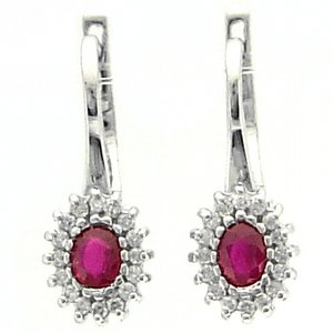 0.16ct. Diamond 0.40ct. Ruby 18K Solid Gold Halo Earring