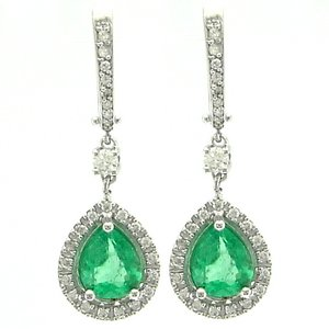 0.92ct. Diamond 1.66ct. Emerald 18K Solid Gold Halo Earring