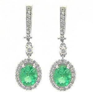 0.62ct. Diamond 1.69ct. Emerald 18K Solid Gold Halo Earring