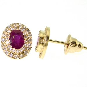 0.36ct. Diamond 1.43ct. Ruby 18K Solid Gold Halo Earring