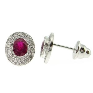 0.36ct. Diamond 1.46ct. Ruby 18K Solid Gold Halo Earring